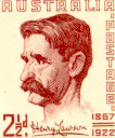 Offical stamp with portrait of Henry Lawson